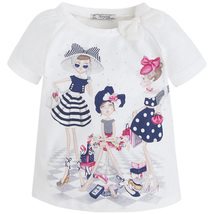 Little Girls 2T-9 Shopping Girls Graphic Print Top, Mayoral