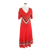 Red white striped vintage short sleeve stretch sweater dress XS - $39.99