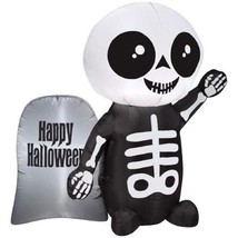 NEW! Skeleton & Tombstone Airblown Inflatable 4 feet Halloween Yard Deco... - $58.29