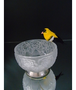 Frosted Floral Glass Bowl Nuts Candies Berries RosePattern Silverplated ... - $22.99