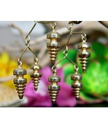 Vintage Industrial Spirals Screw Back Dangling Chandelier Earrings - $17.95