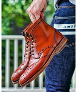 New Handmade Ox Blood Ankle High Leather Wing Tip Brogue Boots For Men's - $159.97+