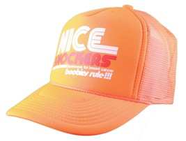 Boobies Rule!!! Nice Guns Boobs Neon Orange White Trucker Snapback Hat Cap NWT image 2
