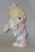 Girl Bunny Rabbit Precious Moments Jesus Loves Me Pajamas Pink Figurine ... - $36.62