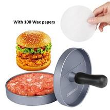 BBQ Burger Press Non-Stick Aluminum Hamburger Patty Maker With 100 Wax P... - $14.97