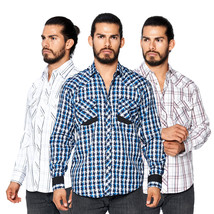 LW Men's Classic Checkered Striped Western Rodeo Pearl Snap Button Up Shirt