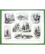 MILITARY CAMPS Meals Prussian Austrian Army - 1870s SUPERB Print Steel E... - $10.80