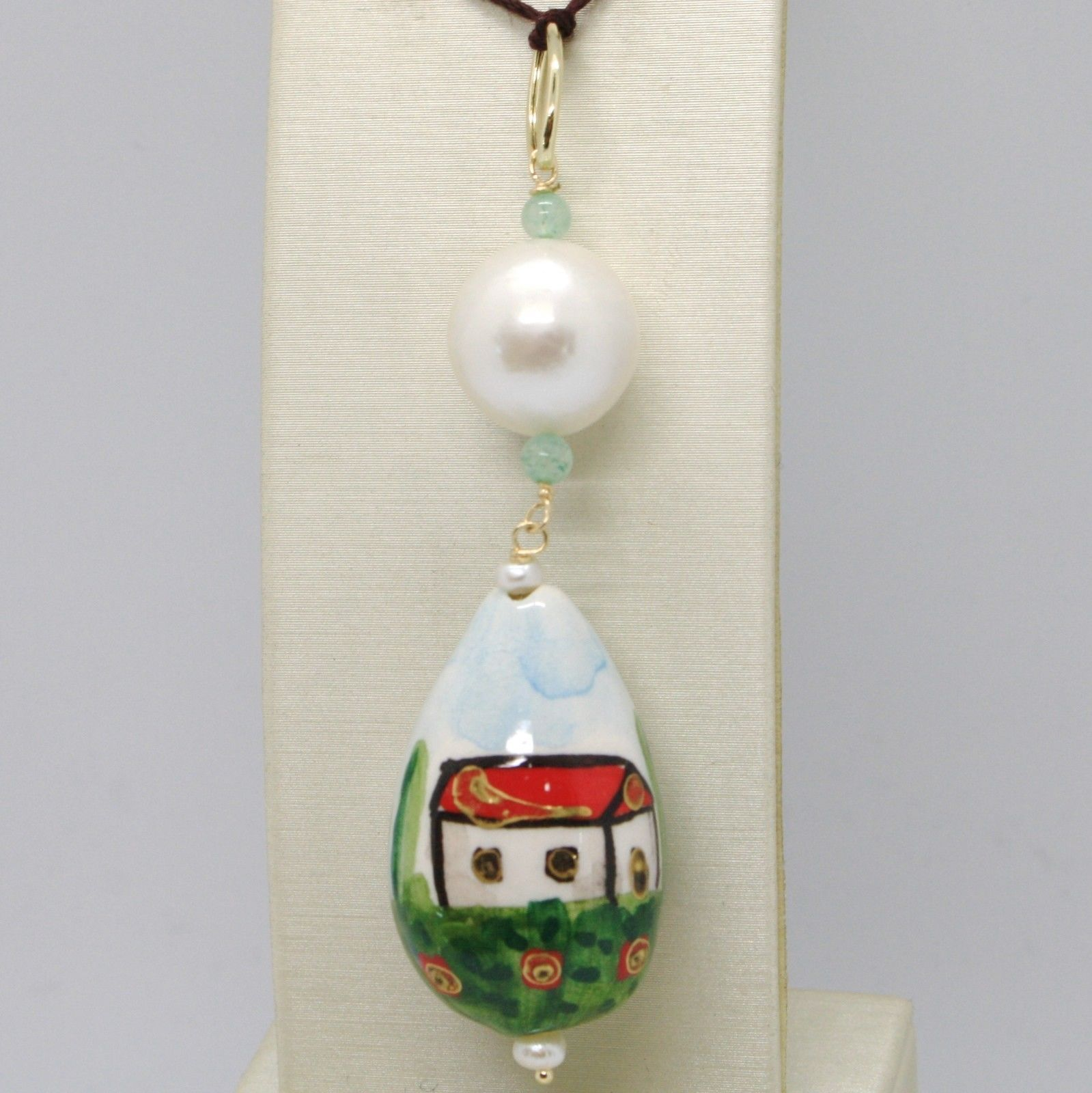 Pendant Yellow Gold 18k 750 with Pearl Aventurine & Ceramics Made in Italy