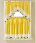 "3 pc. Embroidery Curtains Set: 2 Tiers & Swag (60""x36"") BUTTERFLIES, YOL... - $19.79"