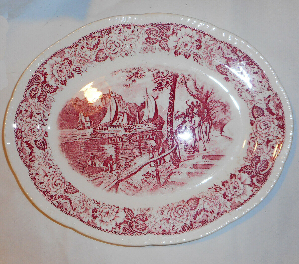 Primary image for Vtg. HISTORICAL AMERICA.  Homer Laughlin Platter. First American Steamboat!