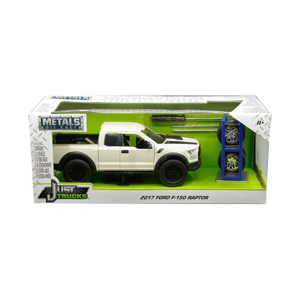 2017 Ford F-150 Raptor Pickup Truck Off White with Black Stripes and Extra Wheel