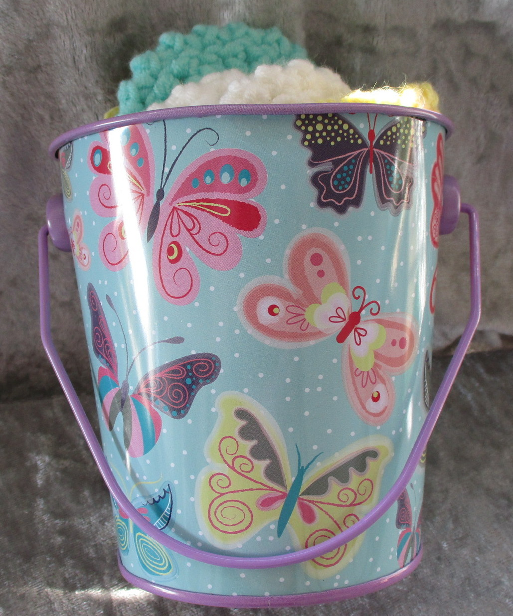 Bucket of Hand Crafted Facial Scrubbie Make Up Removers