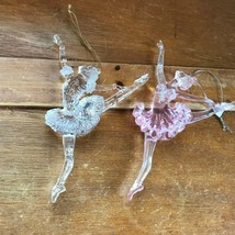 Gently Used Lot of Clear & Pink Plastic Dancing Ballerinas Christmas Tre... - $9.73