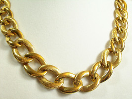 NAPIER Gold Plate CURB Link Necklace BRUSHED n SHINY Graduated Classic V... - $21.77