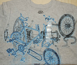 """Nwt Levi's """"The Two Horse Brand"""" Grey Tee Shirt Sz 10-12 M~Bicycle Parts Design - $12.82"""