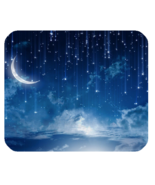 Mouse Pads Mousepads Rain Star With Beautiful Half Moon In Blue Dark Night - $5.00