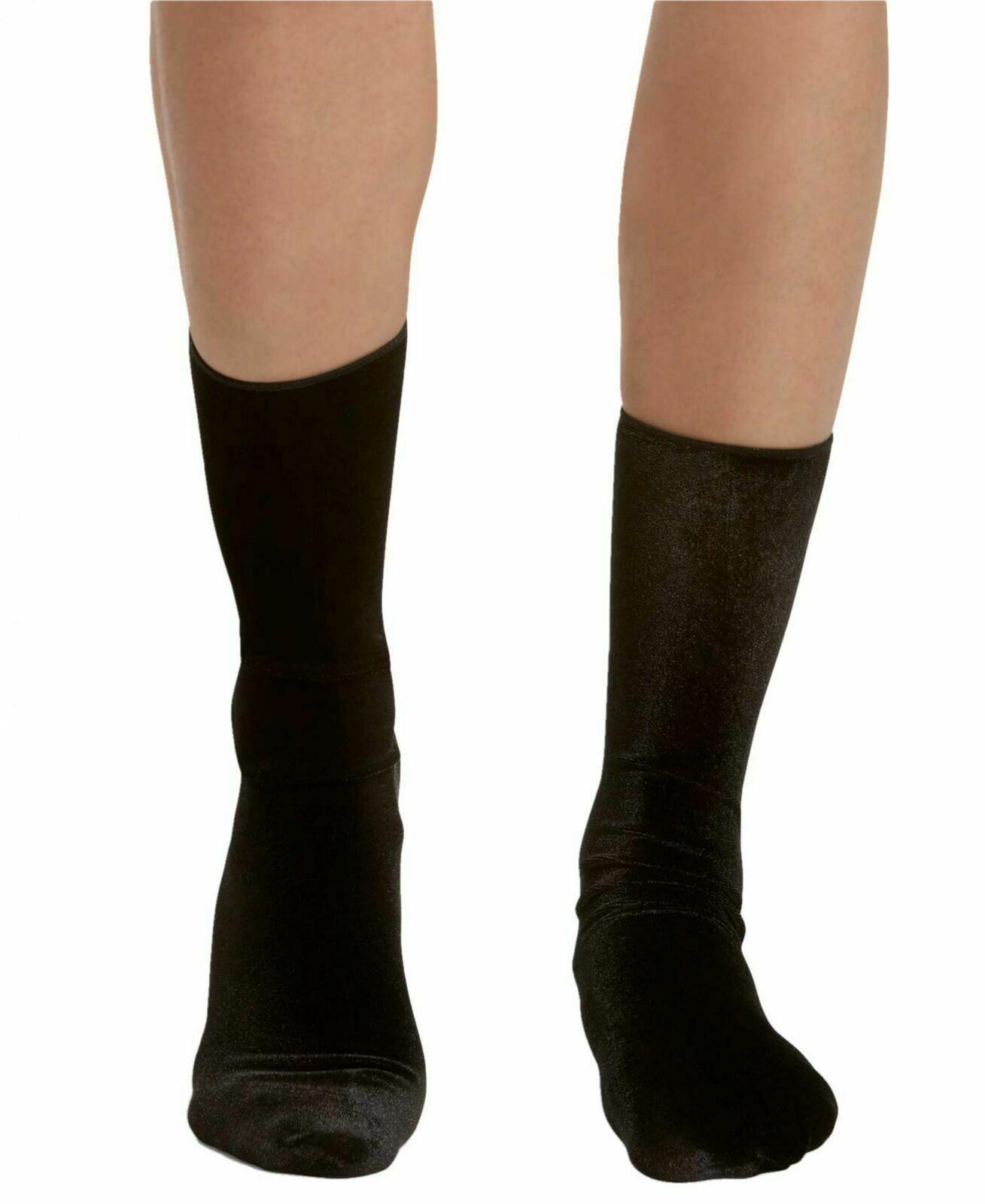 HUE Mujer Terciopelo Negro Tripulante Calcetines Talla Única Nuevo Con Etiquetas