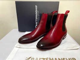 Handmade Men's Burgundy Burnished Toe High Ankle Chelsea Leather Boot image 2