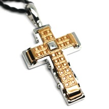 SOLID 18K WHITE & ROSE GOLD CROSS PENDANT BIG 35mm, ROUNDED SQUARES ALTERNATE image 2