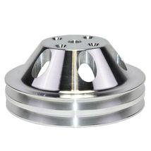 Chevy Small Block Double-Groove Aluminum Long Water Pump Pulley image 7
