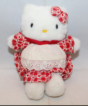 "Sanrio Japan Hello Kitty Plush 11cm 4.25"" Tall Apron Heart Red No Tag Vi... - $41.72"