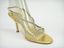 Jimmy Choo Metallic Gold Crystal Sandals Size 38  7.5   -EUC- - $389.00