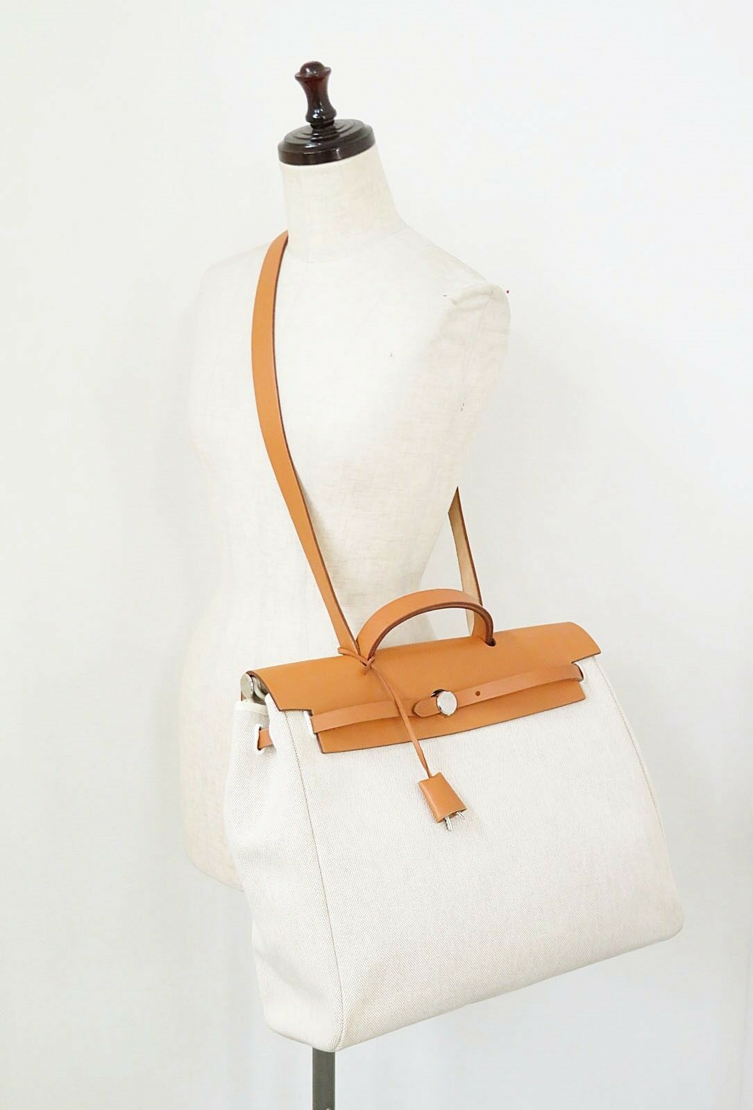 Auth HERMES Her Bag 2 in 1 Beige Canvas and Leather Hand Shoulder Bag #31320 image 2