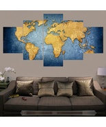Unframed Modern Abstract Wall Art Painting World Map Canvas Painting for... - $33.79