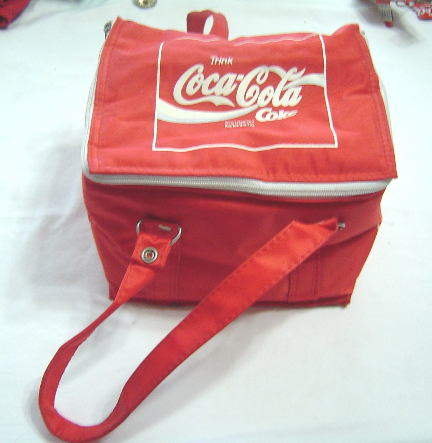 Primary image for Vintage COCA COLA German 70/80s Personal 6-Pak Soft Cooler Tote Lunch Bag Red