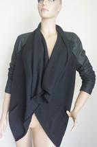 Vince Black Leather Sweater Front Jacket Sz L - $135.00