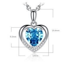 Swarovski Crystal w/ Blue Heart Stone and Sterling Silver Necklace - $39.50