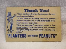 Vintage 1940/50's Planters Peanut Mr Peanut Cardboard Store Thank You Ca... - $3.55