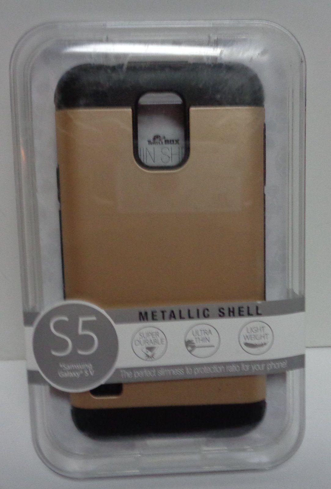 Samsung Galaxy S5 Gold & Black Cell Phone Case Metallic Shell NIB