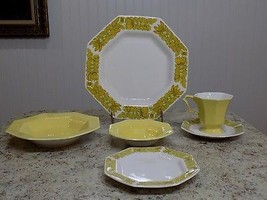 VTG 6 Pc 1 Place Setting Yellow Castleton Independence Ironstone Interpa... - $34.16