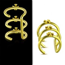 Gold Color Plated Stainless Steel Cross Triple Hoop Cartilage Ear Cuff Q... - $5.89