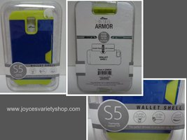 Samsung Galaxy S5 Blue Cell Phone Case Wallet Shell NIB  - $8.99