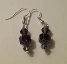 Artisan Crafted Handmade Dark Purple Crystal Dangle Earrings  - $4.99