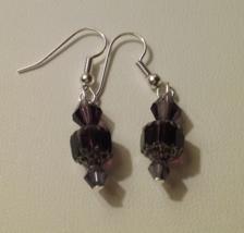 Artisan Crafted Handmade Dark Purple Crystal Dangle Earrings  - $4.99