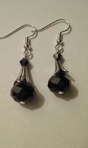 Artisan Crafted Handmade Silver Bead & Jet Black Crystal Dangle Earrings  - $5.50