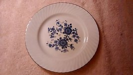 """Royal Blue - Wedgwood - 9"""" Luncheon plate - blue floral center- swirled rim - $6.65"""