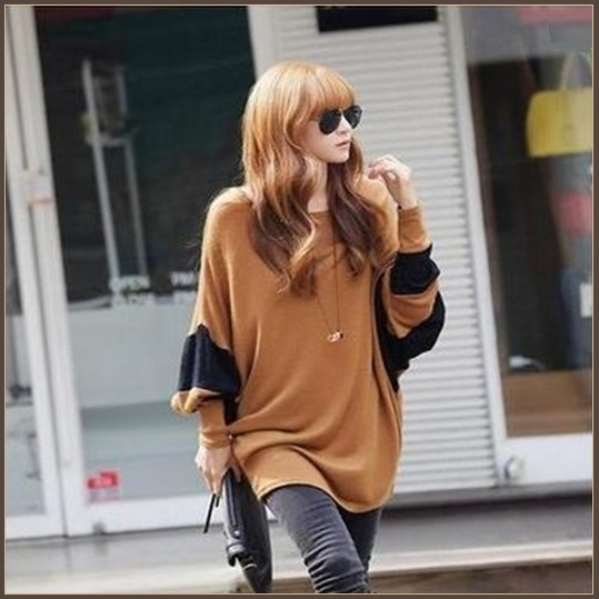 Long Casual Loose Brown Jersey Knitted Pull Over Crew Neck Batwing Sleeved Shirt