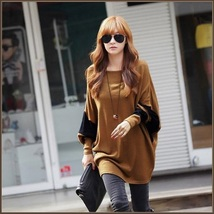 Long Casual Loose Brown Jersey Knitted Pull Over Crew Neck Batwing Sleeved Shirt image 2