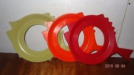 Lot 3 Vintage Plate-Mate Fish shape Plate Holders 70's Red, Orange, Gree... - $25.03