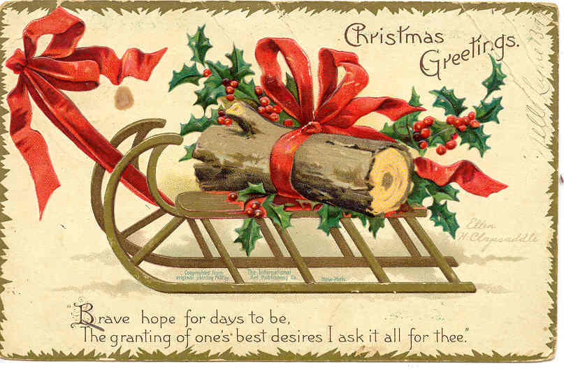 Christmas Greetings EllenClapsaddle 1907 Vintage Post Card