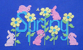 Bunnies Around Spring with Charms cross stitch chart Handblessings - $10.00