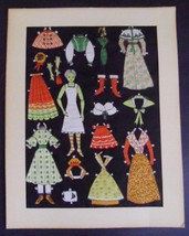 Antique Vintage FABRIC PAPER DOLL cut-out clothes and accessories - $183.15