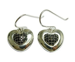 Silver Heart with Black Stones Earring [Jewelry]