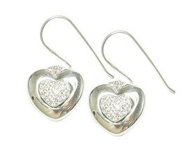 Silver Heart with Stones Earring [Jewelry]