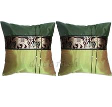 Set 2 Vintage Asian Thai Elephants Silk Throw Decorative Pillow Covers G... - $14.99
