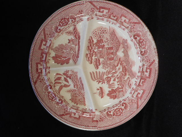 "Vintage Japanese Pink Willow China 10 1/2"" Divided Grill Plate Transfer ware"